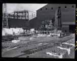 Distant view of new Republic Steel Corporation electric furnace under construction