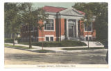 Bellefontaine Carnegie Library Red Tinted Postcard