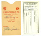 Referral card, Clyde Motor Sales, Inc.