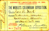 Columbian Exposition 1893 Pass