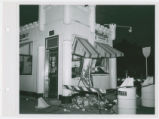 Exterior view of White Castle number 26 after an auto accident, St. Louis, Missouri