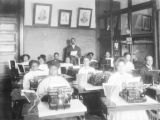 Wilberforce University students in typing class