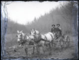 Men in horse-drawn wagon