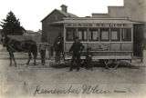 Horse-drawn streetcar in Toledo, Ohio, 1875