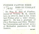 Former Pastor Here Dies in Findlay