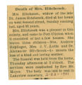 Death of Mrs. Hitchcock