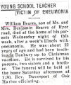 Young School Teacher Victim of Pneumonia