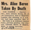 Mrs. Alice Baron Taken by Death