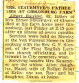 Mrs. Stausmyer's Father Dies at Ginsonburg Farm