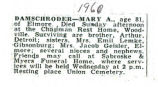 Obituary of Mary A. Damschroder