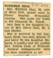 The Obituary of Winifred Deal