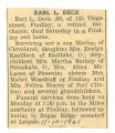The Obituary of Earl L. Deck