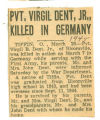 Pvt. Virgil Dent, Jr., Killed in Germany