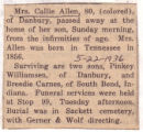 Callie Allen Obituary