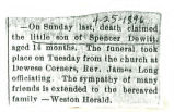 The Obituary of the infant son of Spencer DeWitt