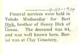 The Obituary of Bert Dick