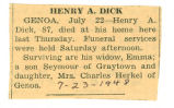The Obituary of Henry A. Dick