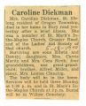 The Obituary of Caroline Diekman