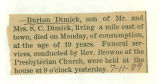 The Obituary of Burton Dimick