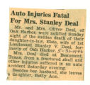 Auto Injuries Fatal for Mrs. Stanley Deal