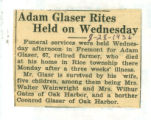 Adam Glaser Rites Held on Wednesday