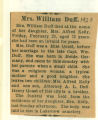 The Obituary of Mrs. William Duff