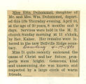 The Obituary of Etta Duhammel