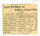 Aged Resident on Kelley's Island Dies