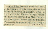 The Obituary of Eliza Duncan