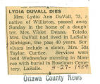 The Obituary of Lydia Ann Duvall