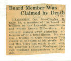Board Member was Claimed by Death
