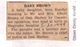 The Obituary of Mr. and Mrs. Albert Brown's Baby