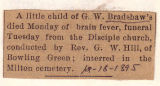 The Obituary of G.W. Bradshaw's Child