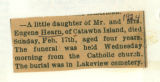 The Obituary of the four year old daughter of Mr. and Mrs. Eugene Hearn