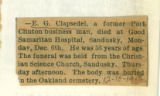 The Obituary of E. G. Clapsedel