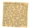 Gottlieb Harnish Dies