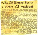 Wife of Elmore Pastor is Accident Victim