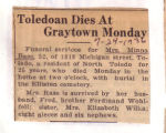 Toledoan Dies at Graytown Monday