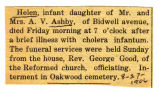 Ashby, Helen, infant daughter