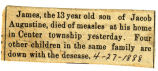 James Augustine died of measles