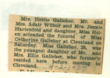 The Obituary for Miss Catherine Galleher of Cleveland, Ohio