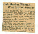 Oak Harbor Woman Was Buried Sunday