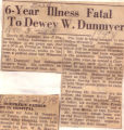 6 Year Illness Fatal to Dewey W. Dunmyer