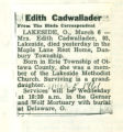 Obituary of Edith Cadwallader