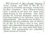 Obituary of Mrs. Frank Cheney