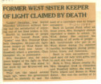 Former West Sister Keeper of Light Claimed by Death