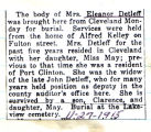 Obituary of Detleff, Eleanor