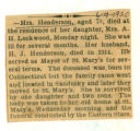 Obituary of Mrs. Henderson