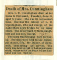 Death of Mrs. Cunningham