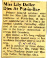 Miss Lily Doller Dies at Put-in-Bay